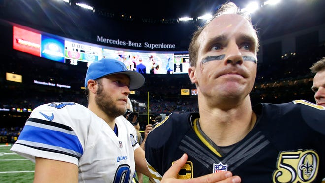 Matthew Stafford, left, greets Drew Brees after the Lions defeated the Saints, 28-13, in New Orleans, Dec. 4, 2016.