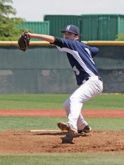 Sophomore Nick Trujilo pitches for the Nevada baseball club during the national tournament.