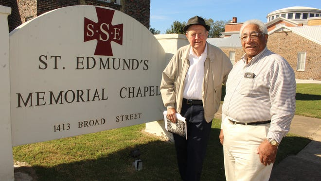 Alston Fitts, left, and John Crear have been loyal supporters of the Fathers of St. Edmund in Selma. Alvin Benn/Special to the Advertiser