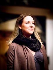 "Ginna Hoben (Portia) in rehearsal for ""The Merchant"