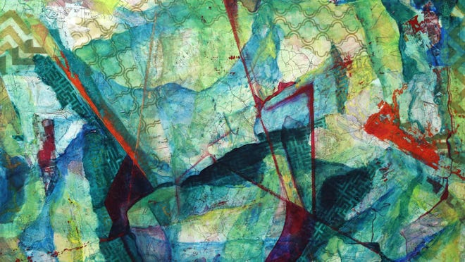 "A mixed media on panel by artist Sarah Ruh titled ""New Geography"" Thursday, July 23, 2015, at The Bindery in Lafayette."