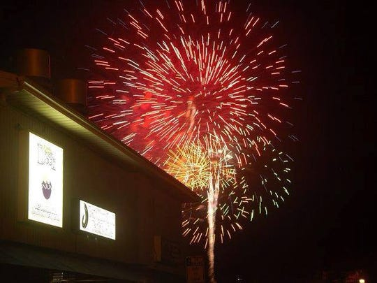 The view of Atlantic Highlands' fireworks from On The Deck Restaurant.