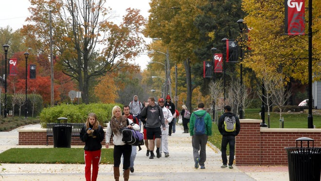 Students walk on the Grand View University campus in 2013.