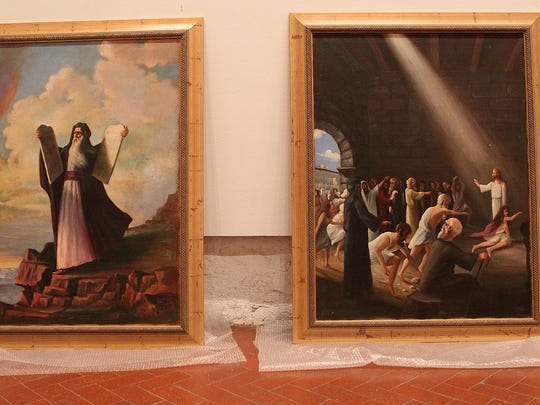 A local resident donated 21 large biblical paintings by Texas artist Harco Schutter to the San Angelo Museum of Fine Arts. The Schutter collection will be on display Easter weekend at Fort Concho.