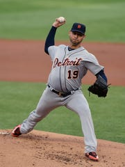 Tigers pitcher Anibal Sanchez delivers a pitch during the first inning on Friday, July 21, 2017, in Minneapolis.