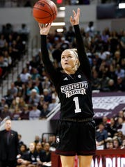 Mississippi State guard Blair Schaefer (1) shoots an