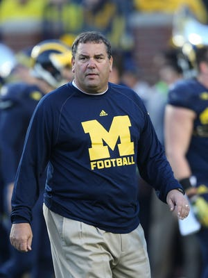 Michigan head coach Brady Hoke prior to action against Penn State at Michigan Stadium in Ann Arbor, Mich., on Saturday, Oct. 11, 2014.