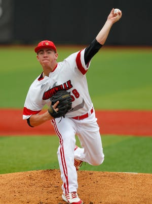 University of Louisville starting pitcher Brendan McKay (38) delivers a pitch to Florida State during first inning of their game at Patterson Stadium in Louisville, Kentucky.       May 9, 2015