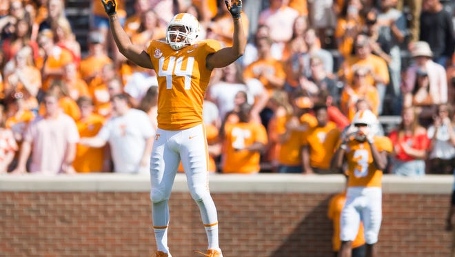 Tennessee tight end Jakob Johnson (44) jumps in place on the field during the Tennessee Volunteers vs. Indiana State Sycamores game at Neyland Stadium in Knoxville, Tenn. Saturday, Sept. 9, 2017.