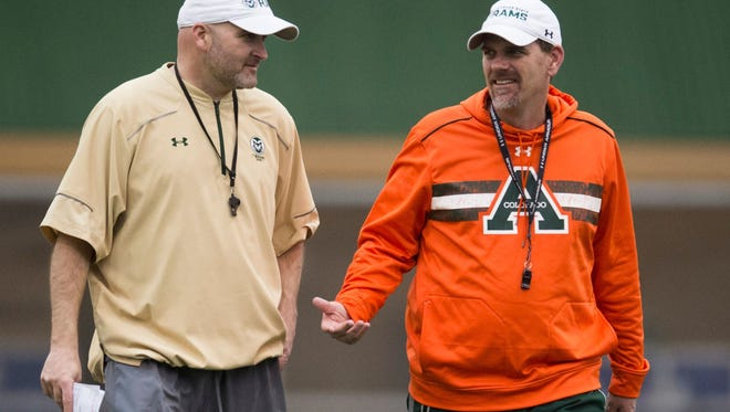 Will Friend, left, is leaving CSU to join Jeremy Pruitt's staff at Tennessee. Friend was Mike Bobo's offensive coordinator for the Rams.