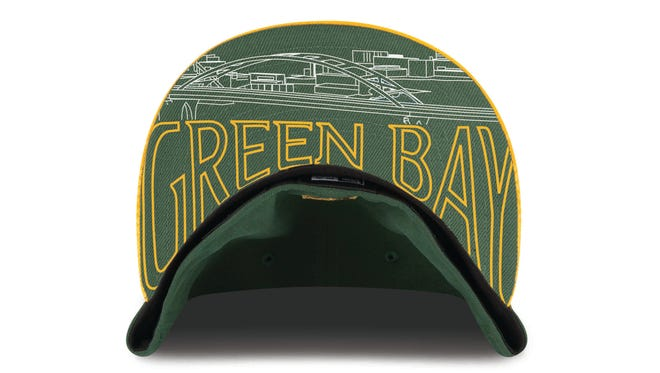 The NFL draft cap that draftees will wear on stage feature skylines of teams' cities under the bill. The caps are available from the Packers Pro Shop.
