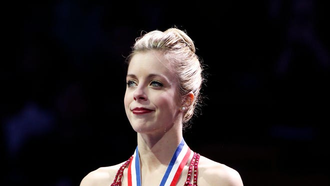 Ashley Wagner on the podium after the Ladies Free Skate at the TD Garden.