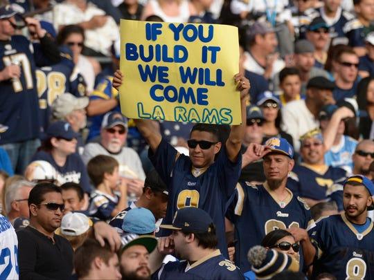 A hopeful Rams fan pleads for a stadium in Los Angeles