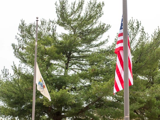 The American flag outside of the New Jersey State Police
