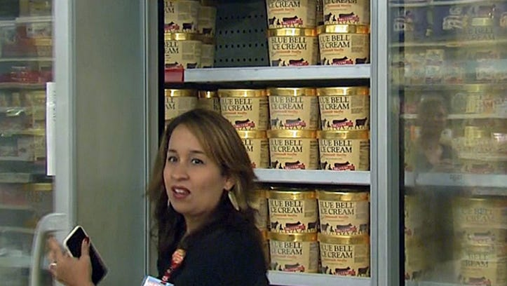 Blue Bell ice cream is in the freezer at a Randalls