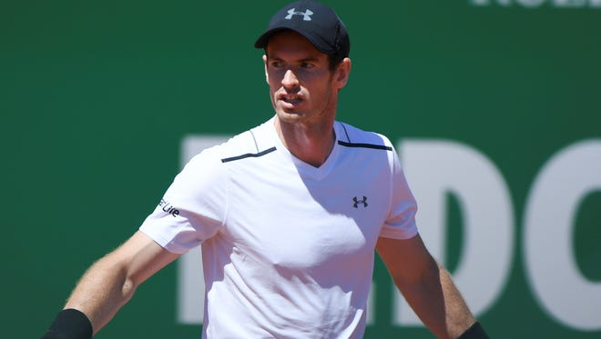 Britain's Andy Murray reacts aftetr being defeatead by Spain's  Albert Ramos-Vinolas at the Monte-Carlo Masters.