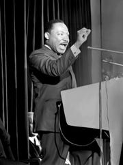 This photo of Martin Luther King speaking at Grosse