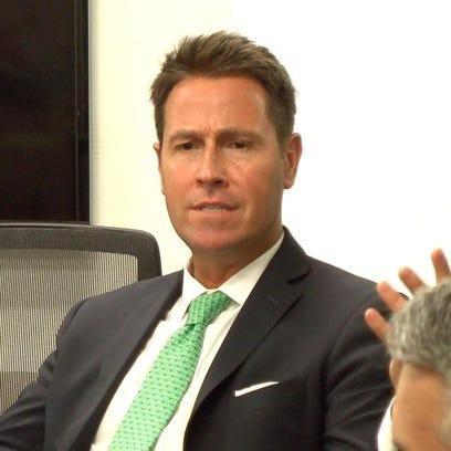 Pensacola Mayor Ashton Hayward speaks at a meeting