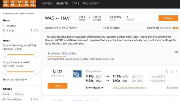 "One advantage of Kayak for booking travel: a ""Price"