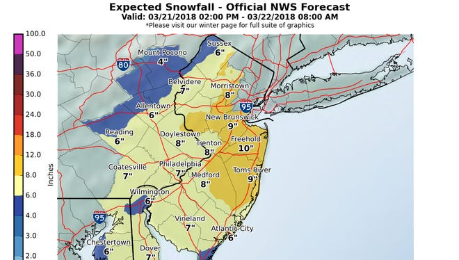 Updated predicted snowfall from the National Weather Service as of Wednesday afternoon, March 21, 2018.