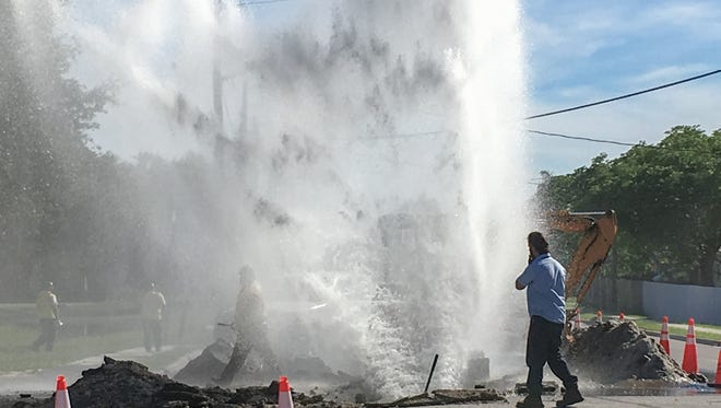 A water main bursts on Fiske Blvd.  in Cocoa, forcing traffic detours.