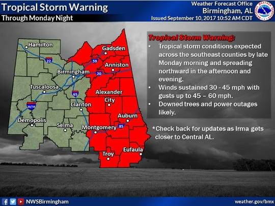 Counties under tropical storm warning