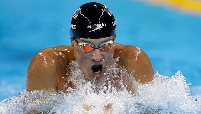 The United States' Ryan Lochte competes in the men's 200-meter individual medley final during the swimming competitions at the 2016 Summer Olympics in Rio de Janeiro, Brazil.