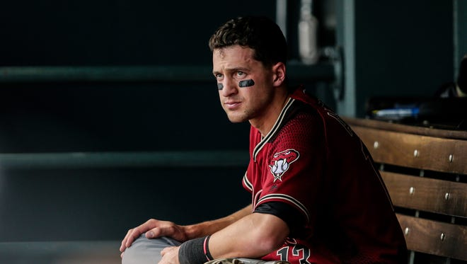May 7, 2017: Arizona Diamondbacks shortstop Nick Ahmed (13) in the dugout in the sixth inning against the Colorado Rockies at Coors Field.