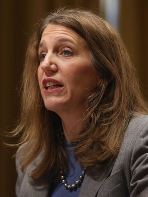 Health and Human Services Secretary Sylvia Mathews Burwell testifies during a Senate Finance Committee hearing on Capitol Hill on Feb. 4, 2015.