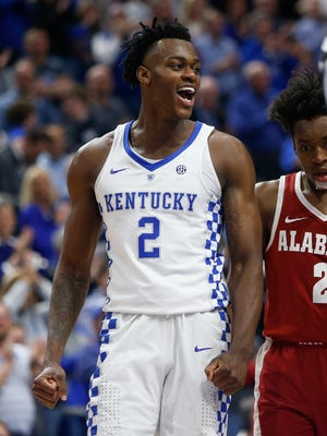 Jarred Vanderbilt #2 of the Kentucky Wildcats celebrates during the second half against the Alabama Crimson Tide at Rupp Arena in Lexington, KY., on February 17, 2018. Kentucky Wildcats defeated Alabama Crimson Tide 81-71.
