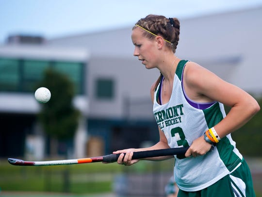 Taylor Gaines bounces a ball on her stick as the University of Vermont's field hockey team practice in Burlington on Aug. 18.
