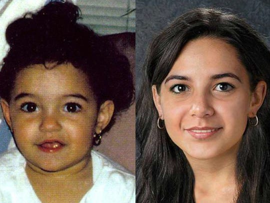 Nadia Rougebianni is shown as a child and in an age-progressed imaged.