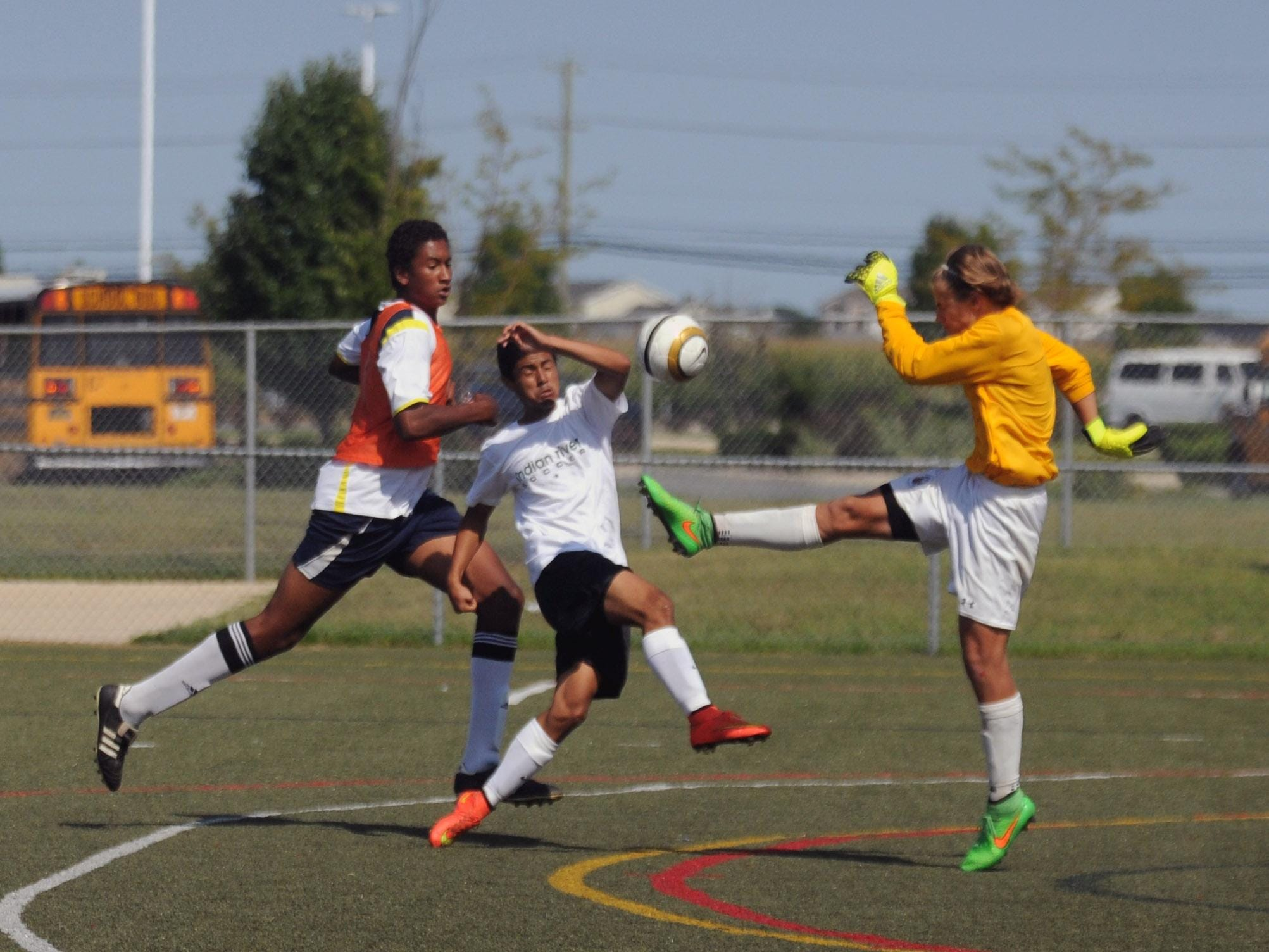 Indian River's forward couldn't sneak the ball by Stephen Decatur's goalie Wednesday, Aug. 26, at the Cape Henlopen play day.