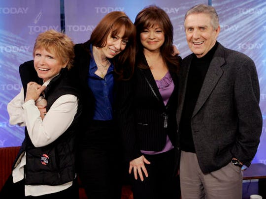 """FILE - In this Feb. 26, 2008 file photo, from left, Bonnie Franklin, MacKenzie Phillips, Valerie Bertinelli and Pat Harrington, of the 1970's television sitcom """"One Day at a Time, """" were reunited for a segment of the NBC """"Today"""" television program in New York.   With more and more outlets in need of content, original ideas are augmented by reboots and sequels including  """"One Day at a Time.""""  This time around, mom is a former military medic now working as a nurse in Los Angeles, with a boy and a girl to raise."""