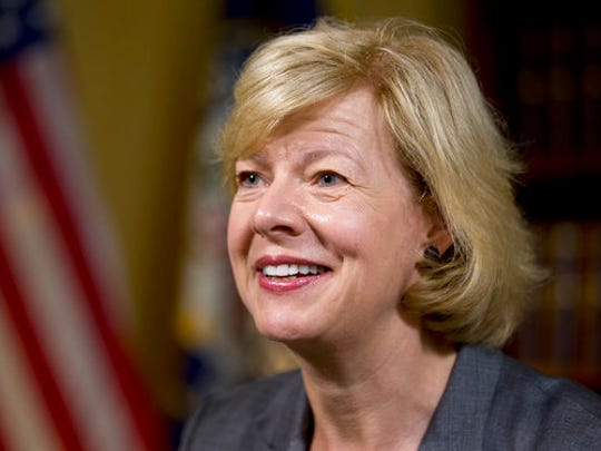 FILE - In this June 21, 2016, file photo, Sen. Tammy Baldwin, D-Wis., speaks during an interview with The Associated Press in her office on Capitol Hill, in Washington. It's a rare and momentous decision, one by one, seated at desks centuries old, senators will stand and cast their votes for a Supreme Court nominee. It's a difficult political call in the modern era, especially for the 10 Democrats facing tough re-election next year in states that President Donald Trump won