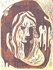 """Mother,"" woodcut print by Linda Beckstrom, part of"