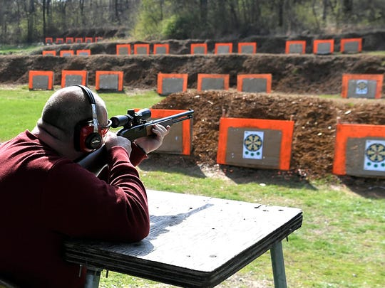 Scott Hensley of Nashville shoots targets at Charlie Haffner Memorial Range in Franklin on Friday, March 9, 2018. Hensley prefers outdoor range better than indoor range and has been coming the Charlie Haffner Memorial Range since the late 1980s