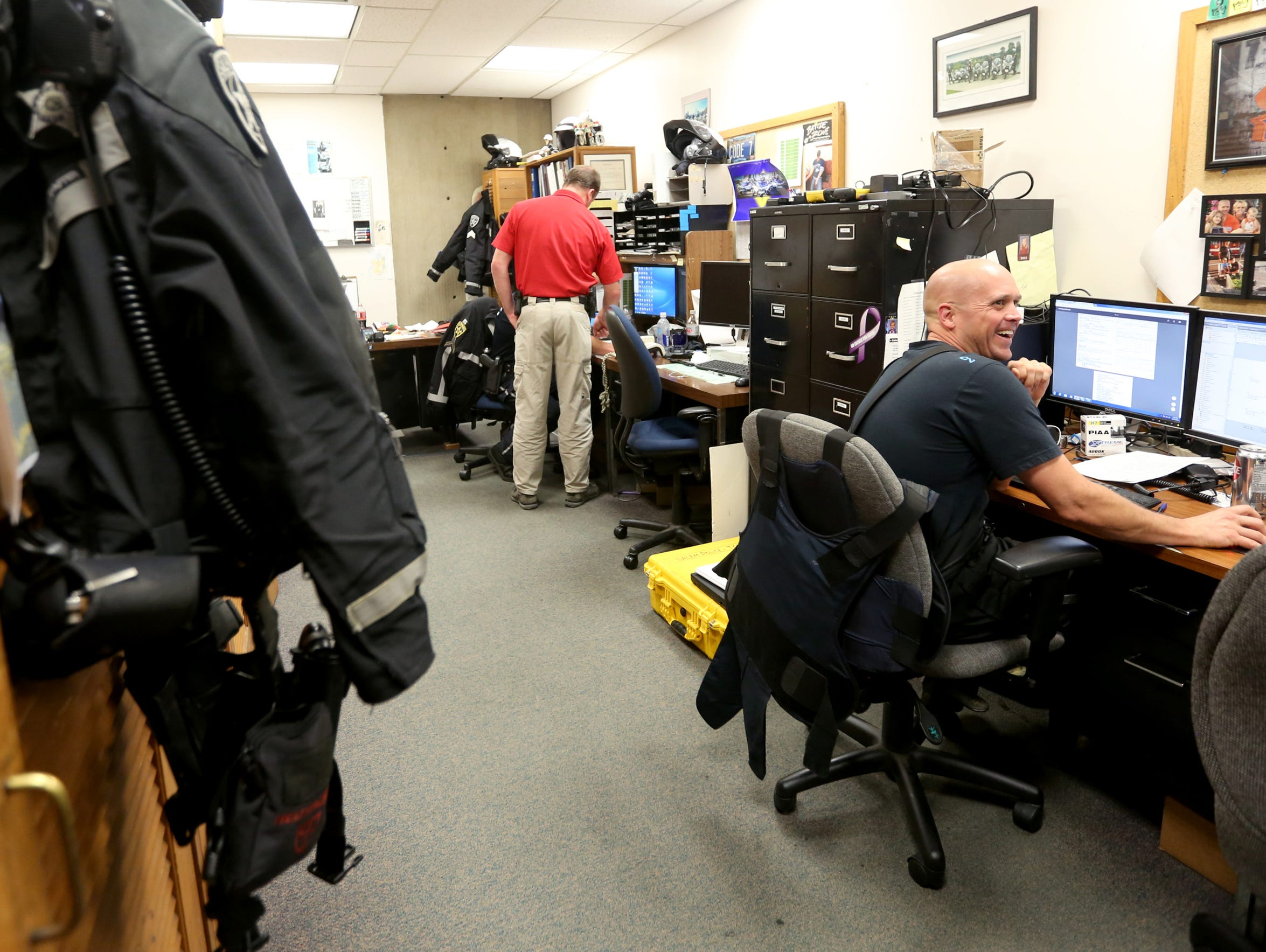 The traffic control unit area at the Salem Police Department