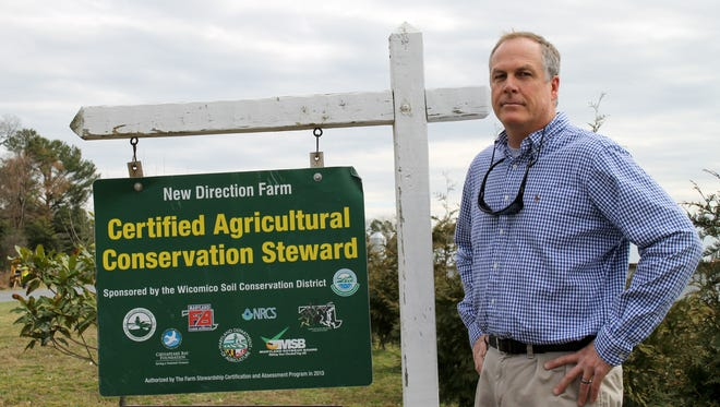 Kimber Ward stands in front of his farm off Rockawalkin Ridge Road west of Salisbury. He opposes the Farmers' Rights Act because he says it represents a government intrusion into his private business.