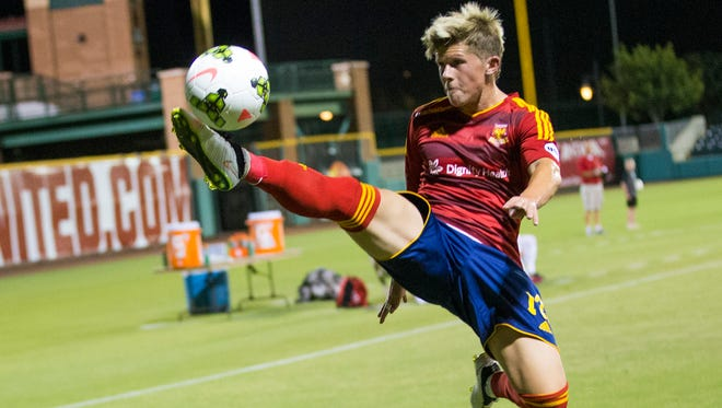 Arizona United forward Cameron Vickers tries to control the ball against Chula Vista during a U.S. Open Cup second-round match at Scottsdale Stadium on Wednesday, May 20, 2015.