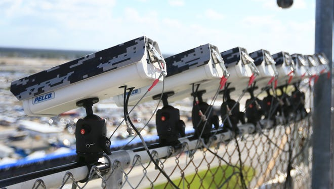 Feb. 22, 2015; Daytona Beach, Fla.; Pit road cameras on the roof during the Daytona 500 at Daytona International Speedway are used to catch pit road violations during NASCAR races.