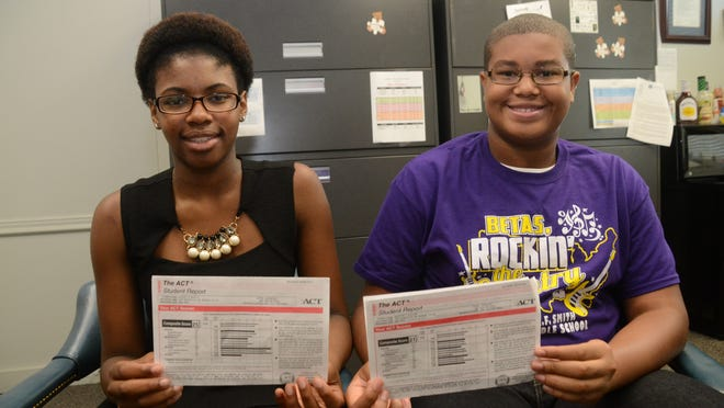 As eighth-graders at Arthur F. Middle Magnet School, Ashley Morlte (left) and Braylen Wilcox took the ACT. Ashley earned a 25 while Braylen earned a 21. Both have the goal of earning a 36, the highest score, when they take the ACT again in high school and get ready to go to college.