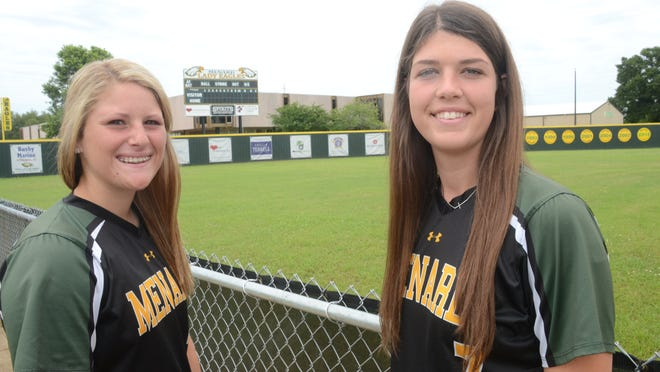 All-Cenla softball co-MVPs Menard's Jensen Howell (left) and Kayla Busby.