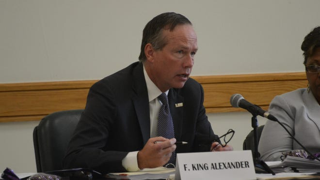 F. King Alexander, president of the LSU System and chancellor of Louisiana State University and A&M College, addresses a meeting of the LSU Board of Supervisors held Friday at Louisiana State University of Alexandria. It was the first time for the board to meet on the Alexandria campus in five years.