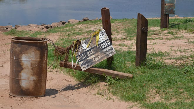 The boat ramp at the Fort Buhlow Recreation Area remains closed as work continues to repair damage done by the flood waters and officials wait for the river level and current to drop to a safe level for recreational use.