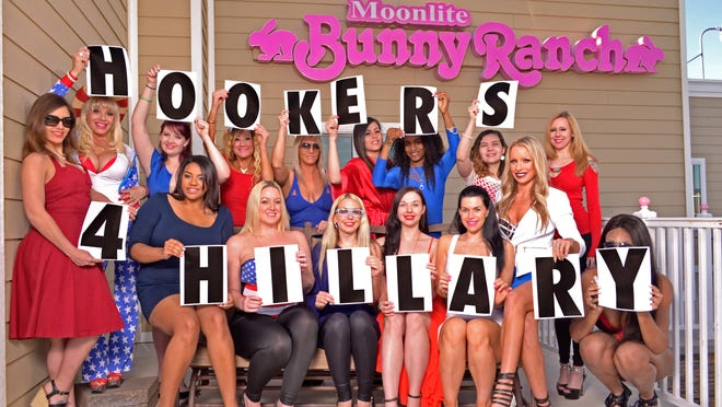 Women working at Dennis Hof's Moonlite Bunny Ranch near Carson City are gearing up for the Nevada Democratic caucus.