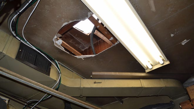 Burglars cut a hole in the roof of a Hingham gas station.