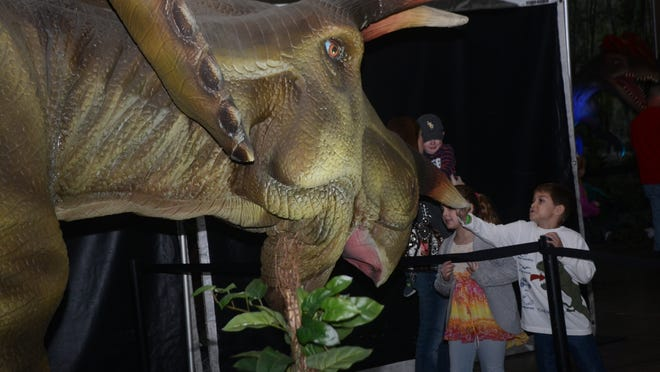 """Patton Ferguson (right) and his cousin, Isabella McLain (left), touch a replica of a triceratops at Blue Star Media's """"Discover the Dinosaurs"""" exhibit Saturday at the Alexandria Riverfront Center in downtown Alexandria."""