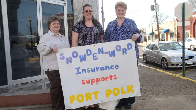 Tania Parker (left), Sarah James and Vickie Green came out in support of Fort Polk on Tuesday.