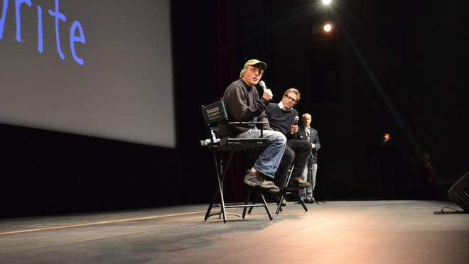 "Marc Lawrence and Hugh Grant took part in an hour-long question-and-answer session following an advance screening of ""The Rewrite"" on Sunday at Binghamton University's Anderson Center."